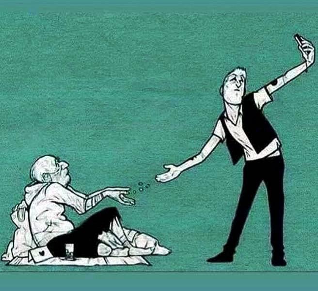 Jopa köyhemmän auttaminen on selfien paikka.