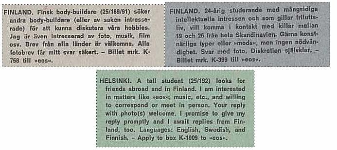 Kontakti-ilmoituksia Tanskan kautta